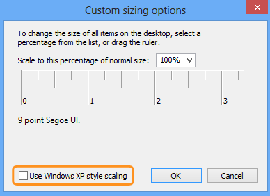 The Use Windows XP style scaling option selected in the Custom sizing options window.