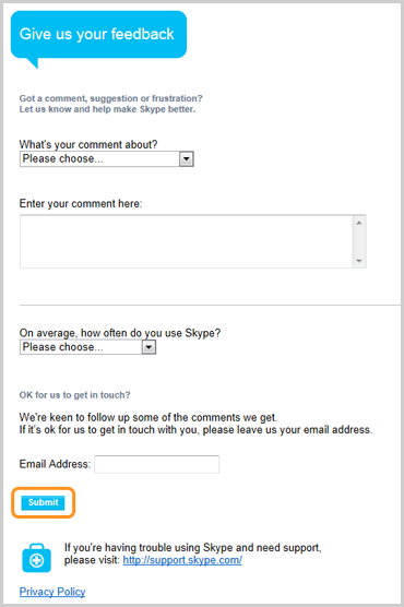 The Submit button selected to send your usability feedback to Skype.