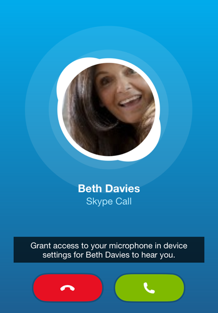 """Grant access to your microphone in device settings for Beth Davies to hear you."" notification displayed after trying to make a call."
