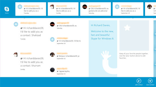 Tiles of instant message conversations displayed on the top of the Skype screen