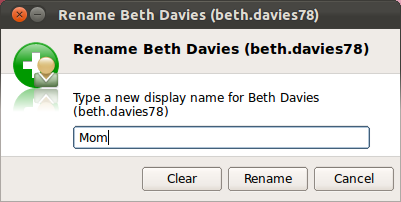 The Rename contact window with a text box to enter the new name.