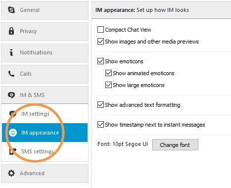 To Change The Earance Of Your Instant Messages Select Im On Left And Then Use Check Boxes Customize How Are