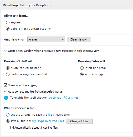 how to delete your instant messages on skype