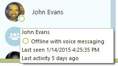 オフライン状態の連絡先に対して表示される追加情報:通話転送オプション、最後のアクティビティがあった日時、お客さまとの最後の会話。