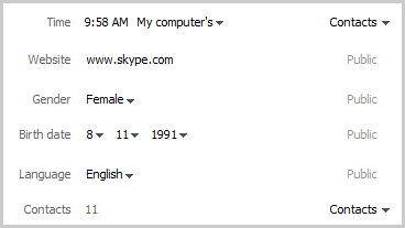 Ejemplo de una sección de perfil donde puedes modificar la información de tu perfil de Skype y controlar quién puede verla.