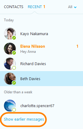 How do i manage my conversation history in skype for windows if you cant see the person or group in the contacts or recent list type the name into the search box or scroll to the bottom and click show earlier ccuart Image collections