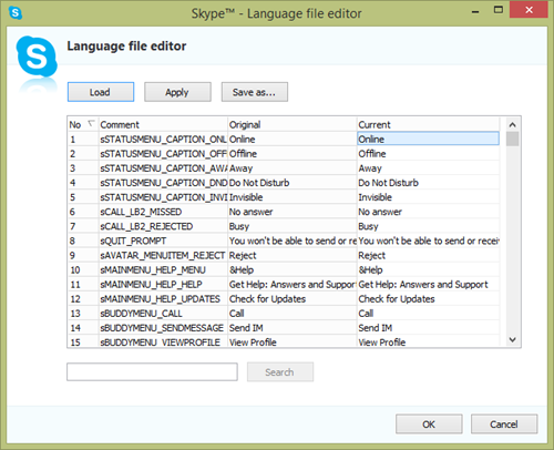 Screenshot of the Skype's Language file editor that allows you to translate individual menu items of the Skype application. It provides buttons to Apply changes, Save the new language file and Load language files created earlier