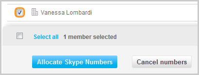 Allocate Skype Numbers screen with members of Skype Manager displayed.